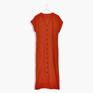 Madewell Red Button-Front Gauze Easy Midi Dress L